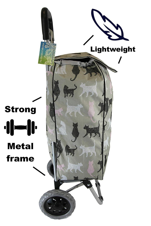 Carrito de la compra grande 40 L Cats Ligero y resistente Impresiones de animales modernas Plegable dise/ño plegable para guardar Carrito de empuje