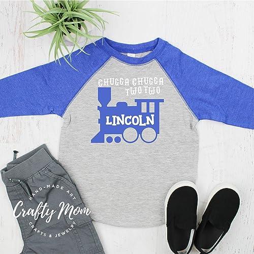 Amazon Chugga Two Train Toddler Boys Birthday Shirt