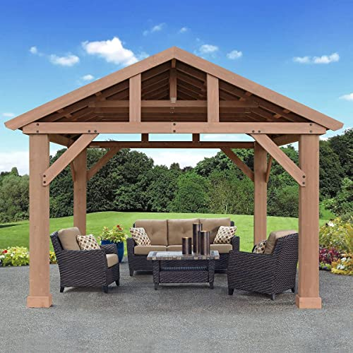 Pre-Stained Premium Cedar Wood Aluminum 14 x 12 Outdoor Pavilion Gazebo