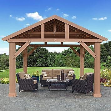 amazon com cedar pavilion gazebo with aluminum roof 14 x 12