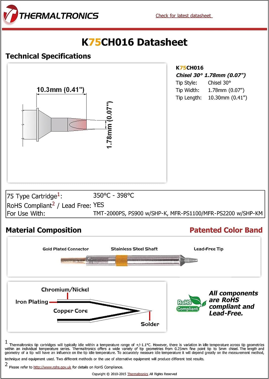 NEW Thermaltronics K75CH016  Soldering Tip For TMT2000S-K Chisel 30° 1.78mm 0.07