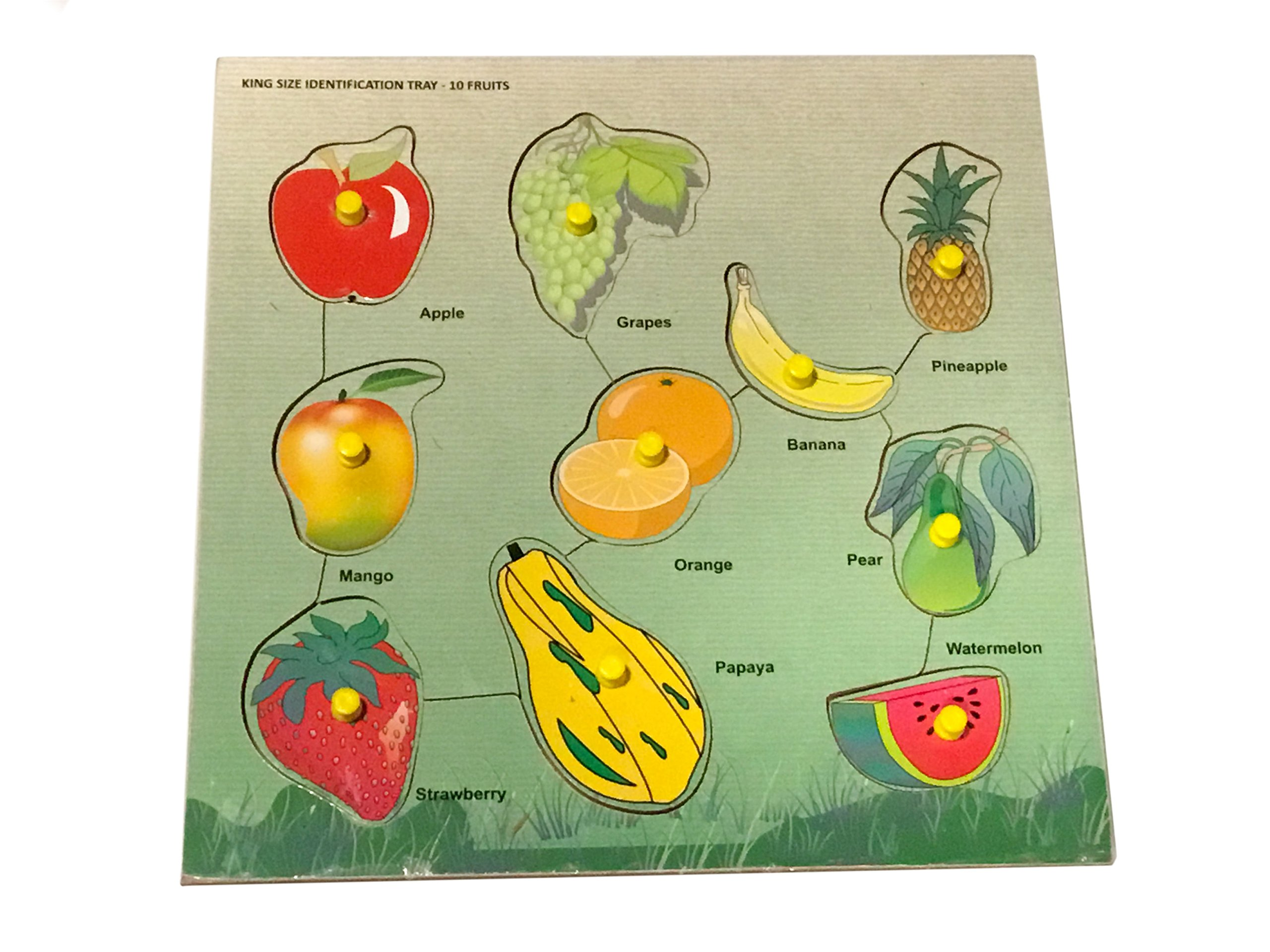 Mojopanda 10 Fruits Name with Knobs Multicolour Kids Peg Puzzle Games, Handcrafted Educational Toy