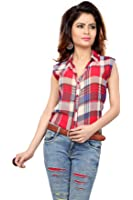 Trendif Red And Beige Poly Georgette Checkered Print Shirt
