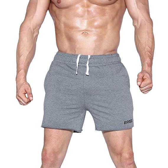 BROKIG Mens Hanging Belt Gym Workout Shorts 5 Bodybuilding Running Shorts Pants with Zipper Pockets