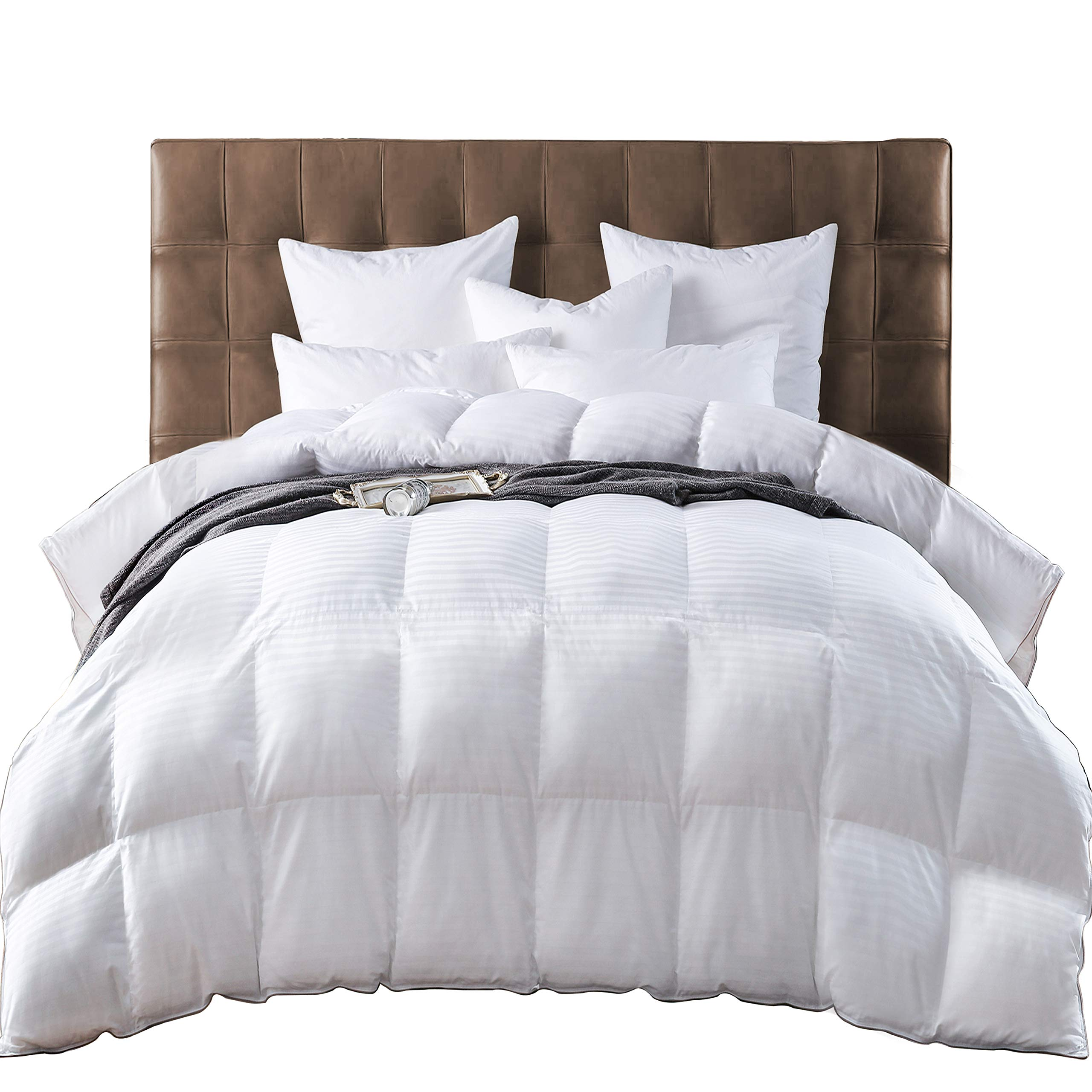 Queen Size Goose Down Feather Comforter Queen Duvet Insert All Seasons Stripes White Hypo-allergenic 600 Thread Count 100% Cotton Shell Down Proof with 8 Corner Tabs (Queen) by Three Geese (Image #1)