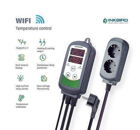 Inkbird ITC-308 WiFi Termostato Digital 220V, App Control Remoto la Temperatura Rango de Calentador y Enfriador para Acuarios, Cerveza Casera, Planta ...