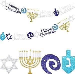 Chanukah Garland Happy Hanukkah Banner Silver Blue Glitter Dreidel Garland Chanukah Party Supplies Hanukkah Party Decorations for Home Festival Decor, Pre-Assembled, 8.2 Feet (2 Pieces)