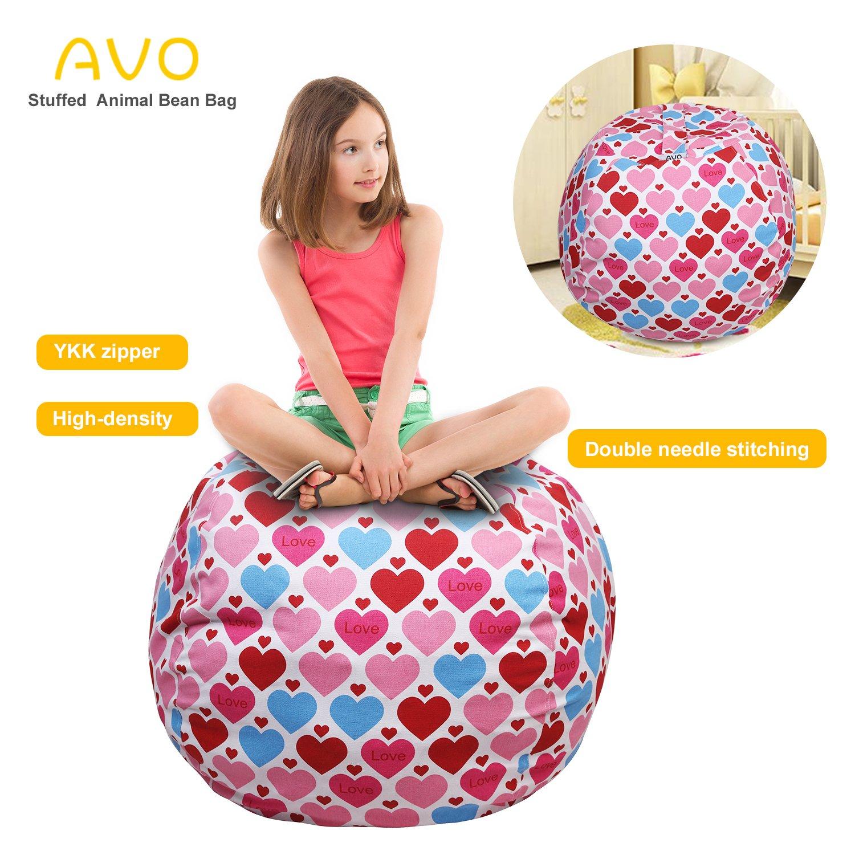 Extra-Large Stuffed Animal Storage Bean Bag-100% high-density(Kids Bean Bag 38'', Pink hearts)