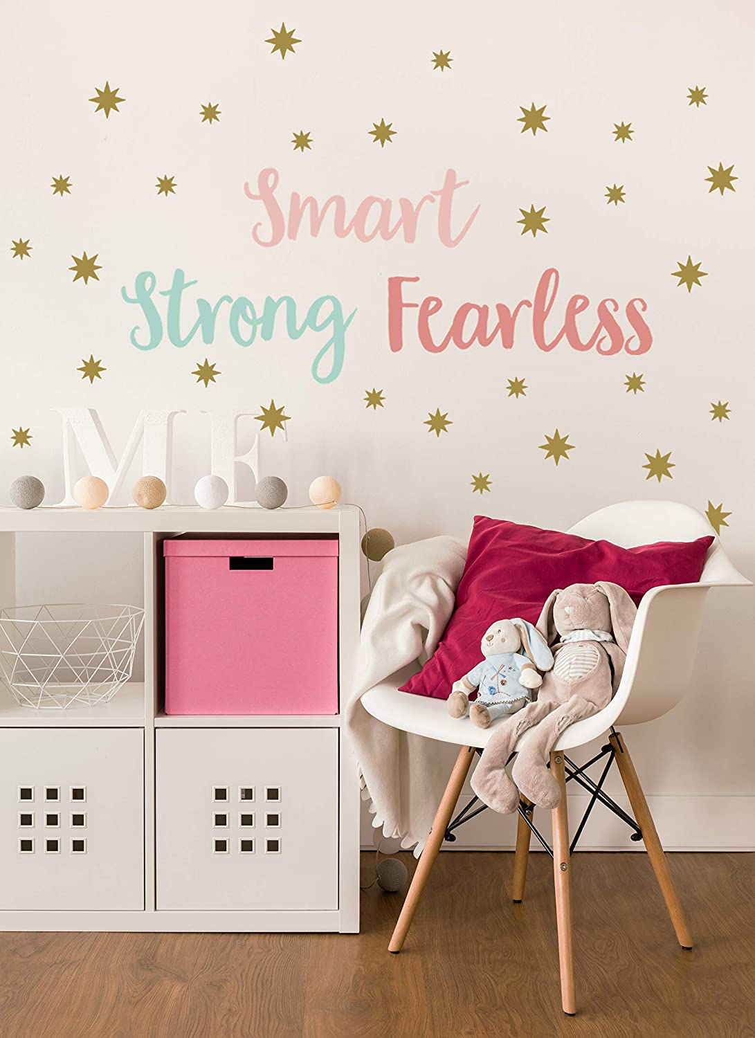 Wall Decal - Wall Decor - Inspirational Quote. - Girls Room Decor - Positive Quote Classroom Decorations - Empowering - - Smart. Strong. Fearless. DIY Decoration.