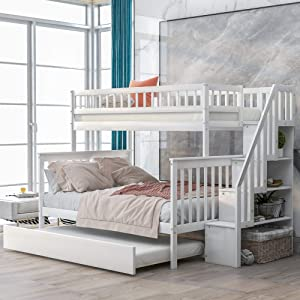 Merax Twin Over Full Stairway Bunk Trundle Bed and Storage, White