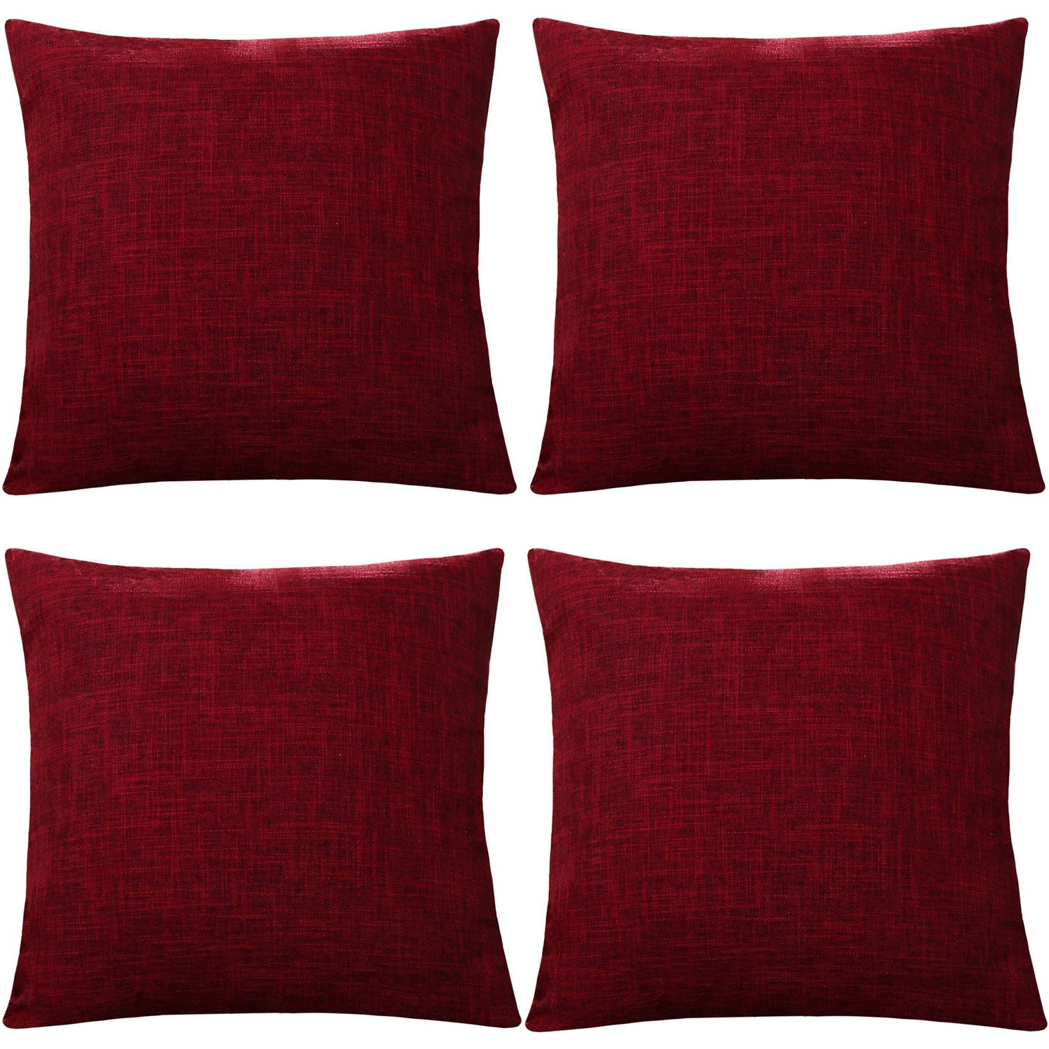 Gonove 4 Pack - 18'X18 Vintage Cotton Linen Pillowcase Square Throw Pillow Case Decorative Cushion Cover for Sofa, Bed, Chair (Black)