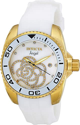 Invicta 0488 Angel Reloj En Tono Dorado Con Correa De Poliuretano Color Blanco Invicta Watches