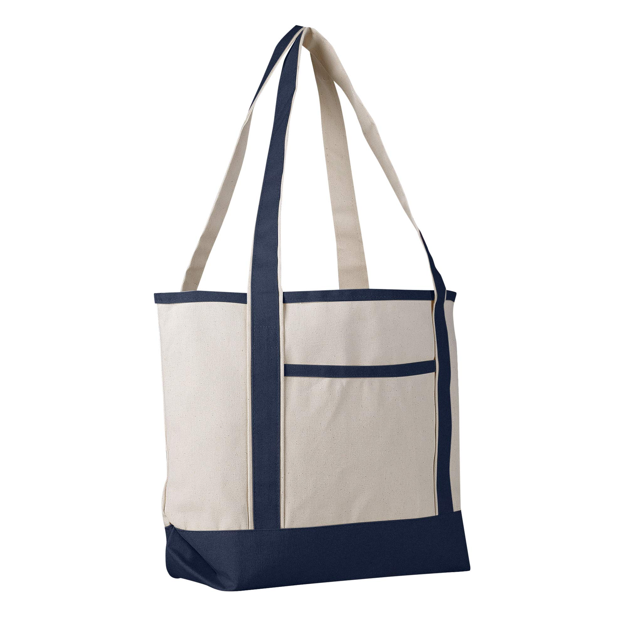 Canvas Boat Tote Bag - 18 inch - Wide Heavy Duty Sturdy & Reusable with Inside Zipper Pocket Cotton Canvas Beach Weekender Travel Luggage Totes for Women, Men, Kids, Girls, Boys (Navy)