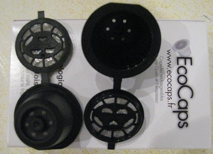 ECOCAPS - 6 cápsulas recargables para Nespresso + cepillo y cuchara: Amazon.es: Hogar