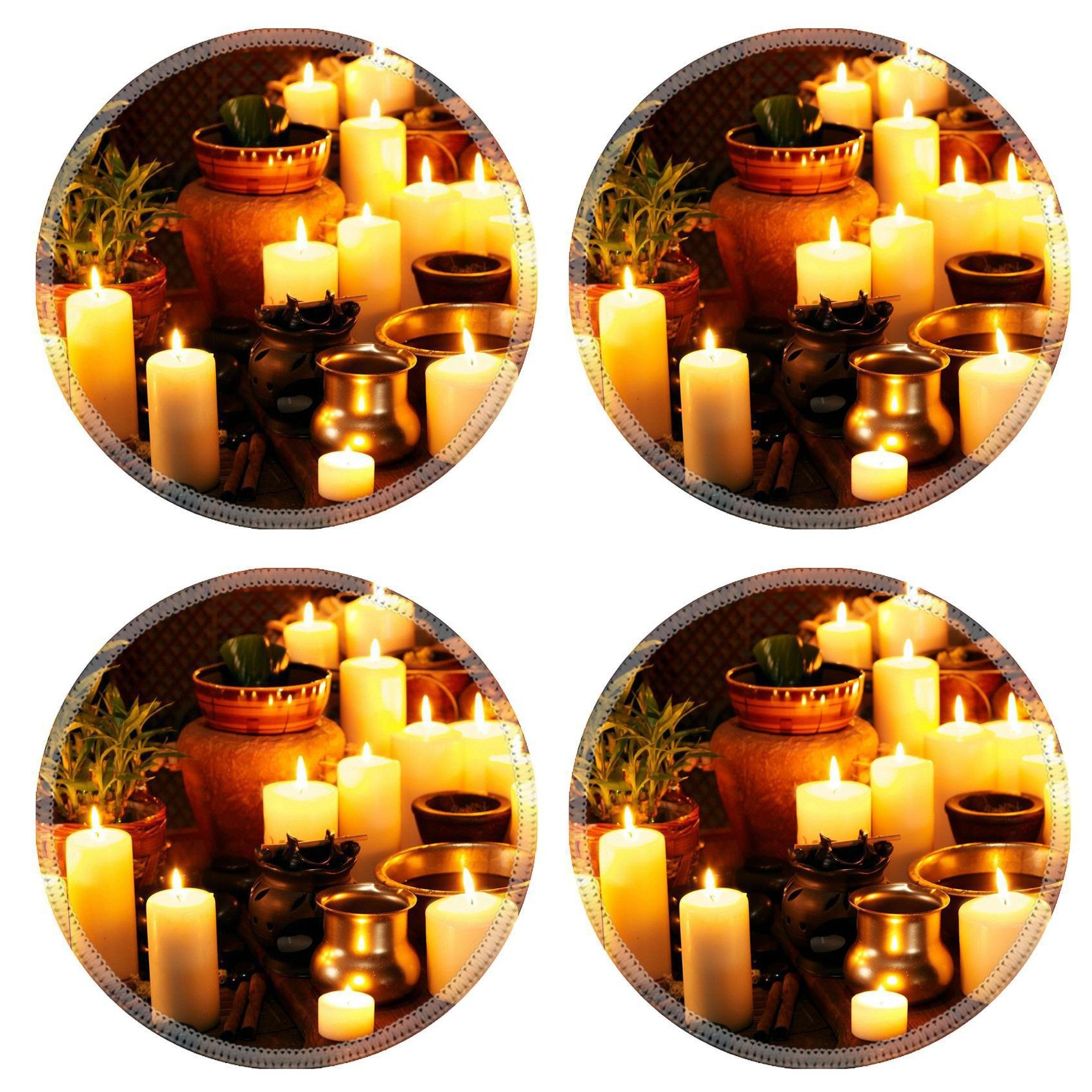 Liili Round Coasters Non-Slip Natural Rubber Desk Pads IMAGE ID: 22331954 Luxury ayurvedic spa massage still life