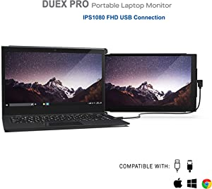 "Duex Pro Upgraded Portable Monitor 12.5"" Full HD IPS Display USB A/Type-C Powered Dual-Screen Monitor, Anti Glare Brightness Adjustable Screen (Duex Pro Only)"