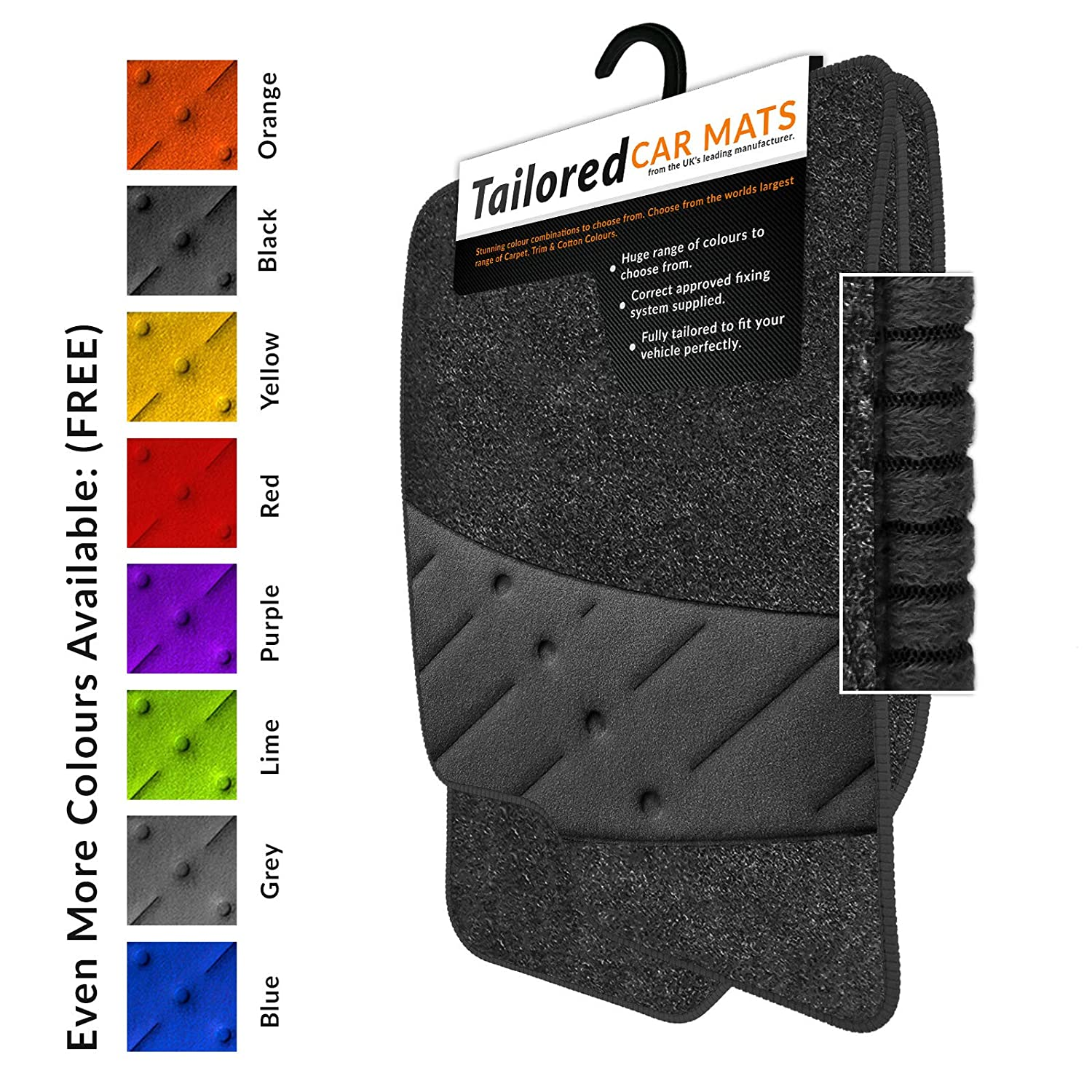 2008-2011 Anthracite Tailored Car Mats /& Blue Trim /& Blue Double Ultra Thick Full Width Heel Pad Car Mats To Fit Fiesta MK7