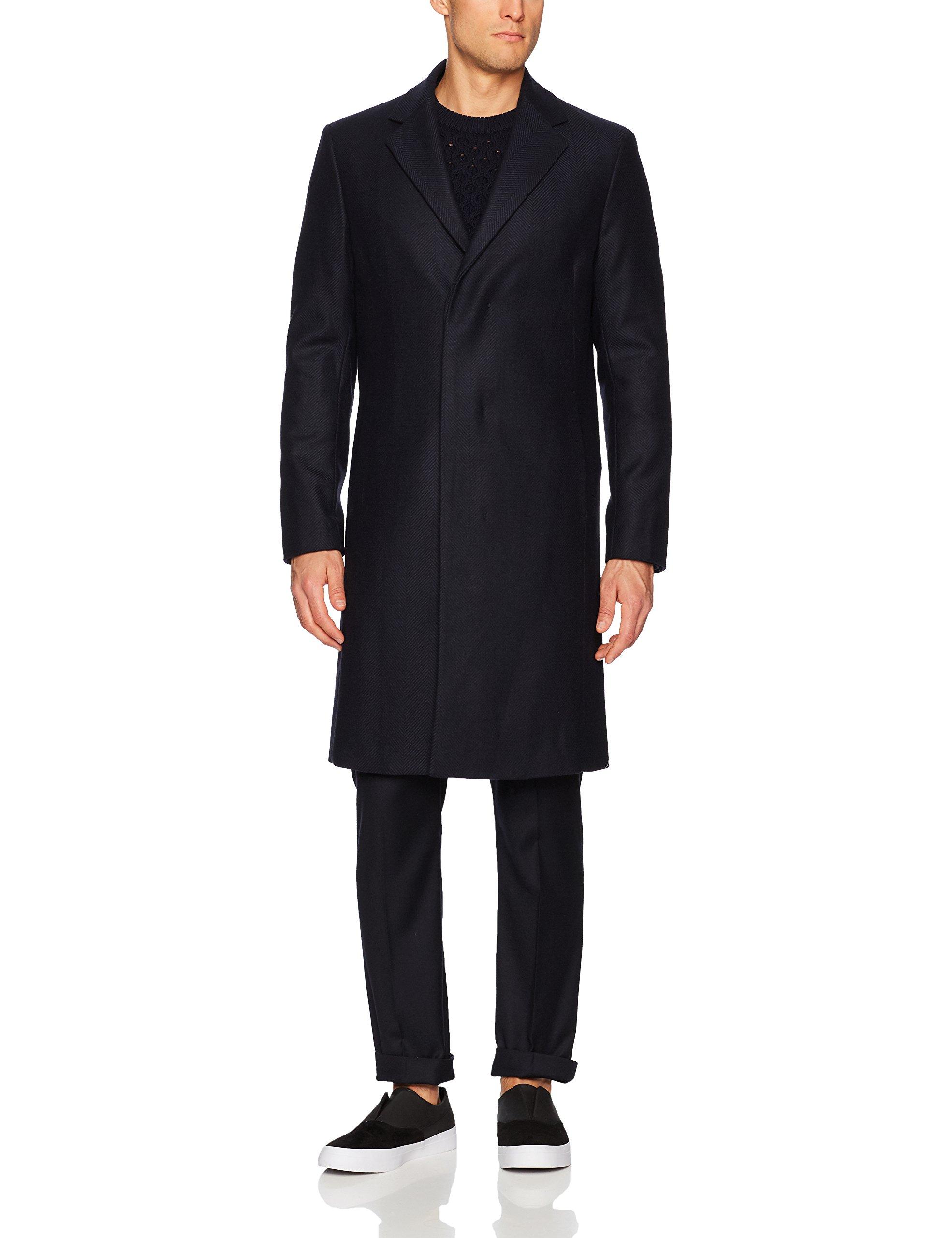 Theory Men's Wool Over Coat In Herringbone, Liberty Multi, M