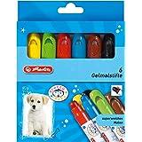 Herlitz 10671816 Pack de 6 crayons gel/craies grasses pour enfants (Jaune/orange/rouge/bleu/vert/marron) (Import Allemagne)