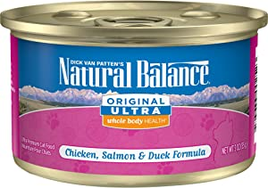 Natural Balance Original Ultra Whole Body Health Wet Cat Food, Chicken, Salmon & Duck, 24 Cans