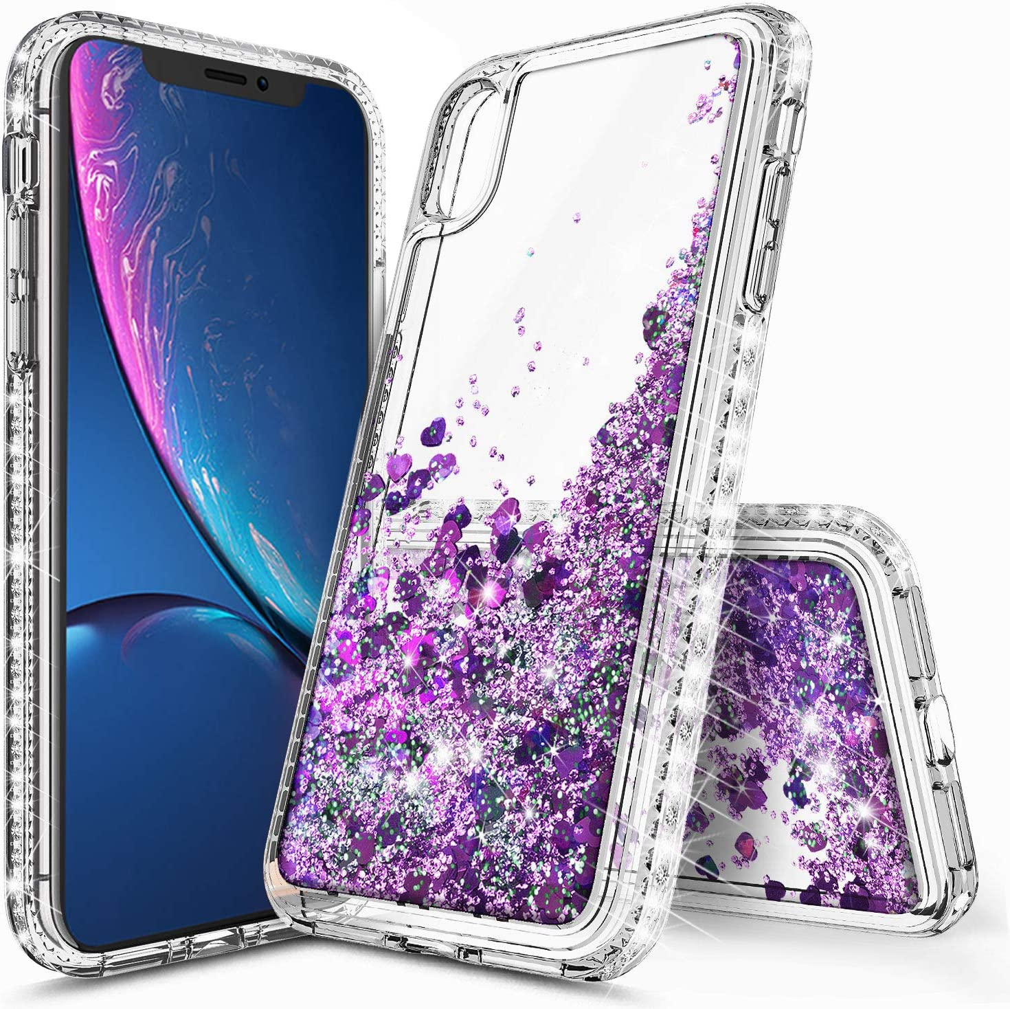 lovemecase Case for iPhone XR Case, iPhone XR Case for Girls Woman,Glitter Liquid Quicksand Bling Sparkle Flowing Sparkle Shiny Diamond Girls Protective Phone Case(Clear Purple)