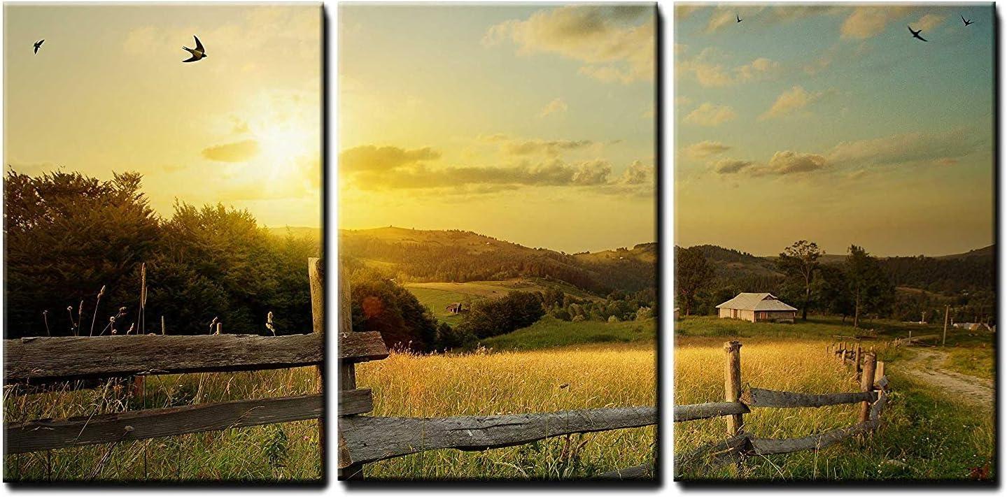 """wall26 - Rural Landscape Field Art - Canvas Art Wall Art - 16""""x24""""x3 Panels"""