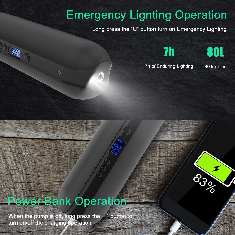 CYCPLUS 150PSI Pompa dAria elettrica Compressore Portatile Mini Gonfiatore con LCD Digitale LED Luce Ricaricabile Li-Ion 12V per Tutti i Tipi di Biciclette Auto Moto e Altre Palline