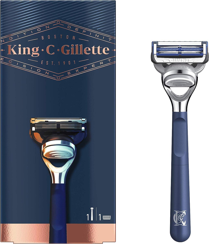 King C Gillette Máquina de Afeitar para Cuello con Hojas de Acero Inoxidable + 1 Cuchilla de Recambio