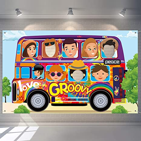 60 S Party Decorations Hippie Bus Photo Booth Props Backdrop Banner Groovy Background Hippie Themed Birthday Carnival School Party Photo Prop Backdrop