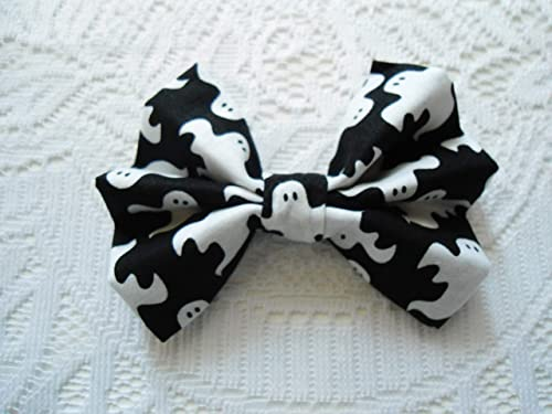 Girls Halloween Ghost Hair Bow Handmade