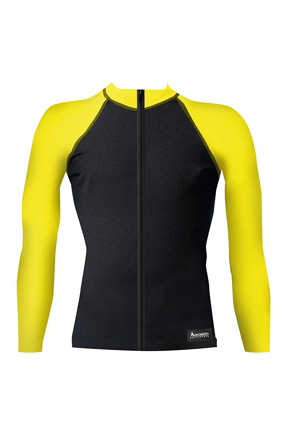 Aeroskin Nylon Long-Sleeve Rashguard with Color Accents And Front Zip L549