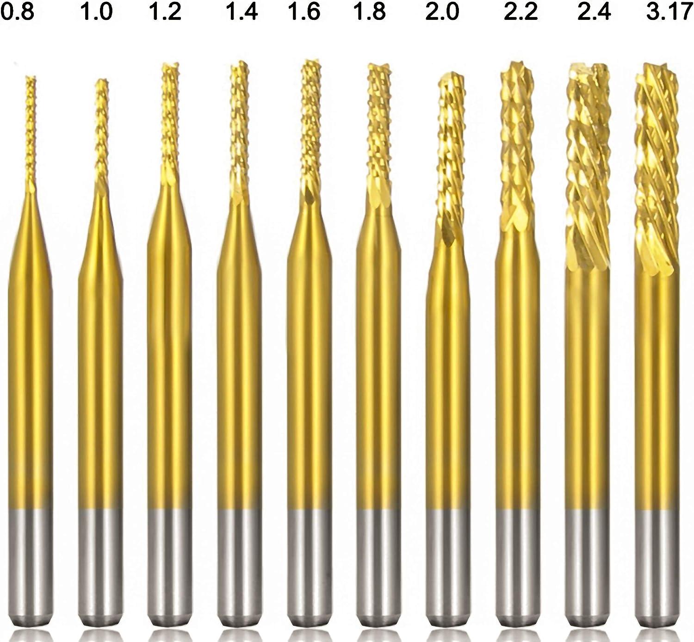 Gold KEWAYO 10Pcs 0.8-3.17 mm Titanium Coat Carbide End Mill Engraving Bits CNC Rotary Burrs Set Tool PCB Mould Plastic Fiber Carbon Fiber Hardwood 1//8 Shank Titanium Plating Material,WIth Box