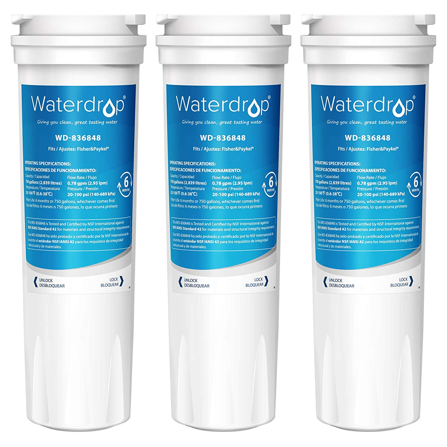 Waterdrop 836848 Replacement Refrigerator Water Filter, Compatible with Fisher & Paykel 836848, 836860, WF296, E522B, PS2067635, Pack of 3