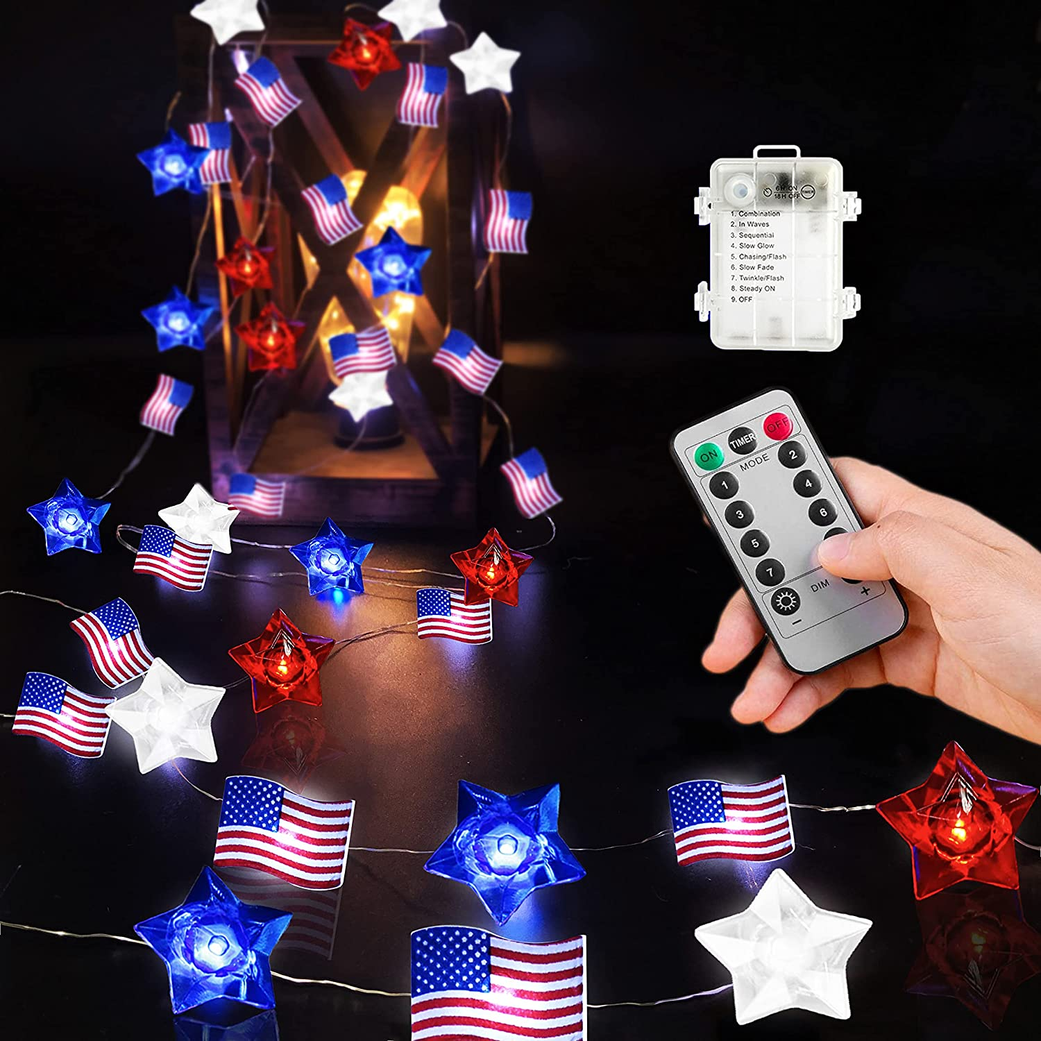Ucutely Independence Day Decor Lights,13FT 40LED American Flag String Lights,Red White Blue Star Lights with Remote Control, Pefect for Memorial Day, 4th of July, Independence Day