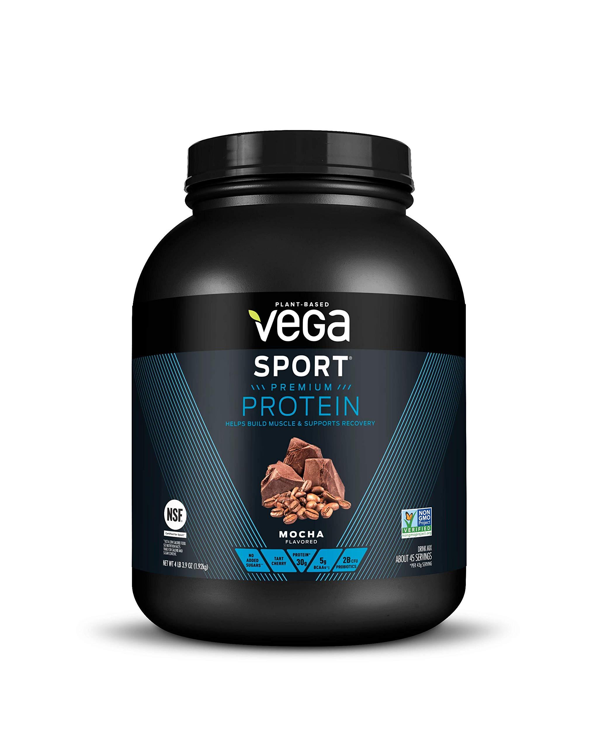 Vega Sport Protein Powder Mocha (45 Servings, 4lb 3.9oz) -  Plant Based Vegan Protein Powder, BCAAs, Amino Acids, Tart Cherry, Non Dairy, Gluten Free, Non GMO (Packaging May Vary)