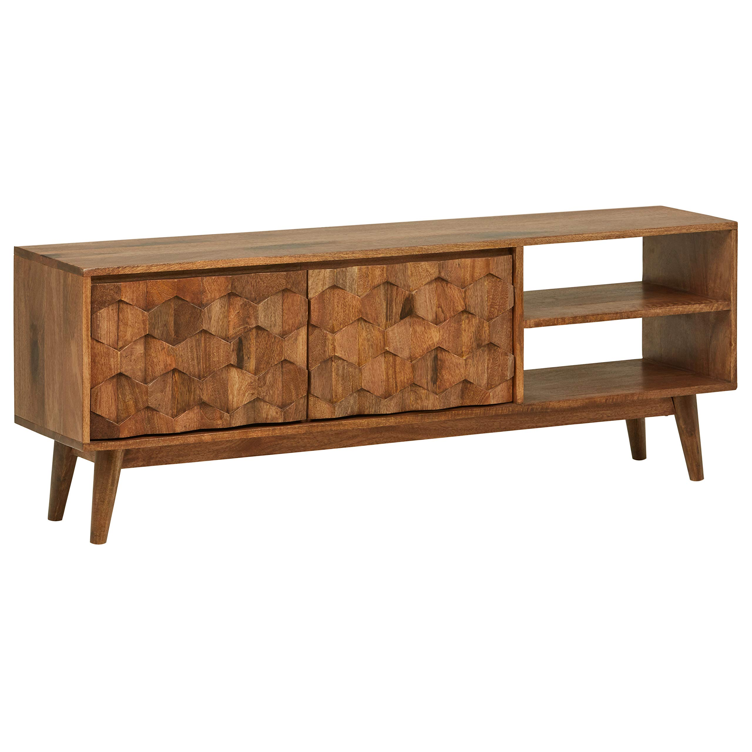 Rivet Emerly Contemporary Media Console Center Storage Cabinet, 57''W, Wood
