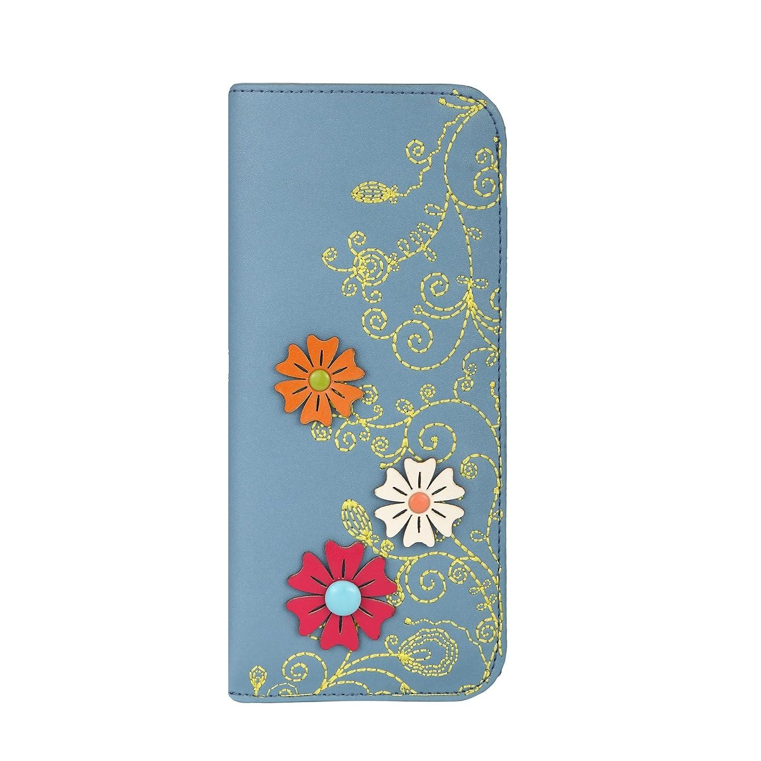 MENKAI Funda para gafas de sol y lectura dibujo flores 774G Grey Blue
