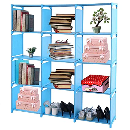 Utheing Book Shelf Organizer Rack Unit Storage 5 12 Cube Freestanding Fabric Horizontal Cubicle Bookshelf