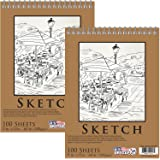"""U.S. Art Supply 9"""" x 12"""" Premium Spiral Bound Sketch Pad, Pad of 100-Sheets, 60 Pound (100gsm) (Pack of 2 Pads)"""