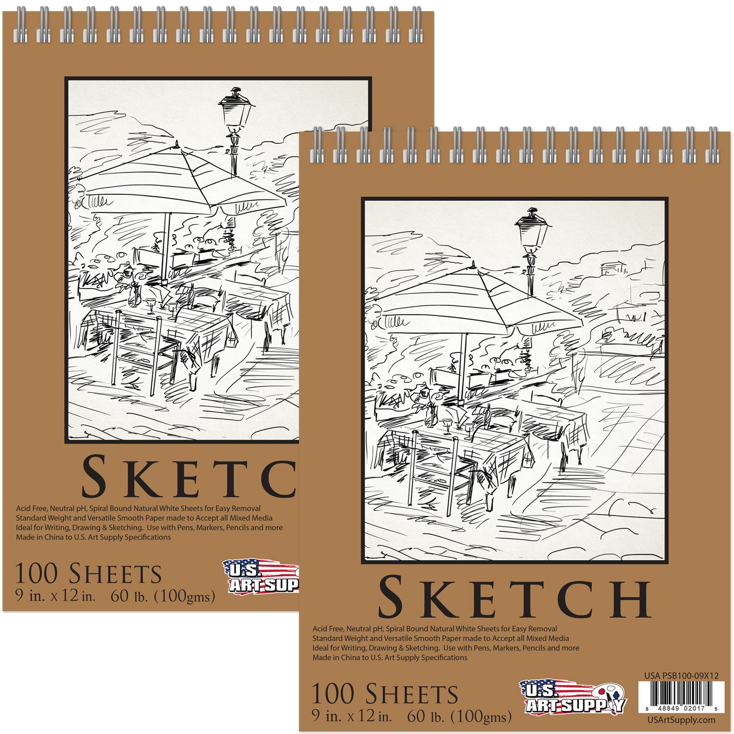 U.S. Art Supply 9'' x 12'' Premium Spiral Bound Sketch Pad, Pad of 100-Sheets, 60 Pound (100gsm) (Pack of 2 Pads) by US Art Supply