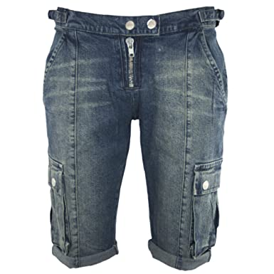 c4272925e2 Ladies Knee Length Denim Cargo Shorts Designer Summer Combat Pedal Pushers  (16): Amazon.co.uk: Clothing