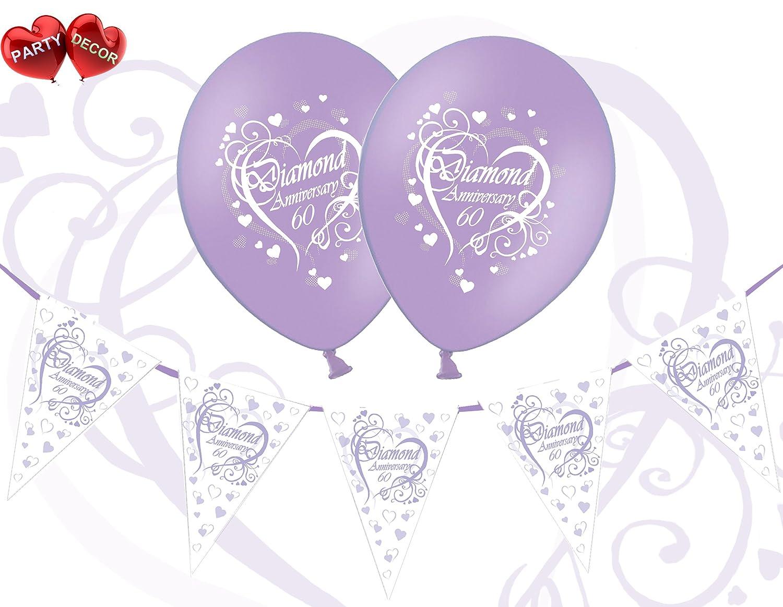Great Bundle Set of Happy Diamond 60th Anniversary Themed White Print on Lavender 12