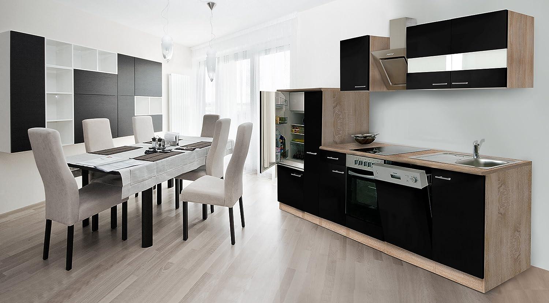 respekta Economy Küchenzeile 310 cm Eiche Sonoma Sägerau Front Schwarz inkl. Designer-Schräghaube