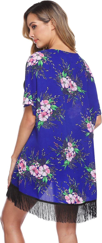 Hawiton Playa con Ganchillo trasl/úcido para Bikini Parte Frontal Abierta Rock cardigano Kimono con Estampado Floral Chaqueta de Punto para Mujer de Gasa con Borla