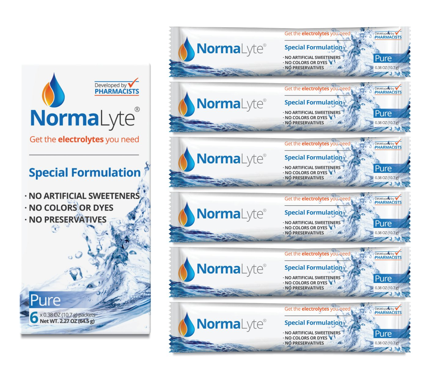 NormaLyte Oral Rehydration Salts, Pure, 6 Pk (Yields 500mL per pack)