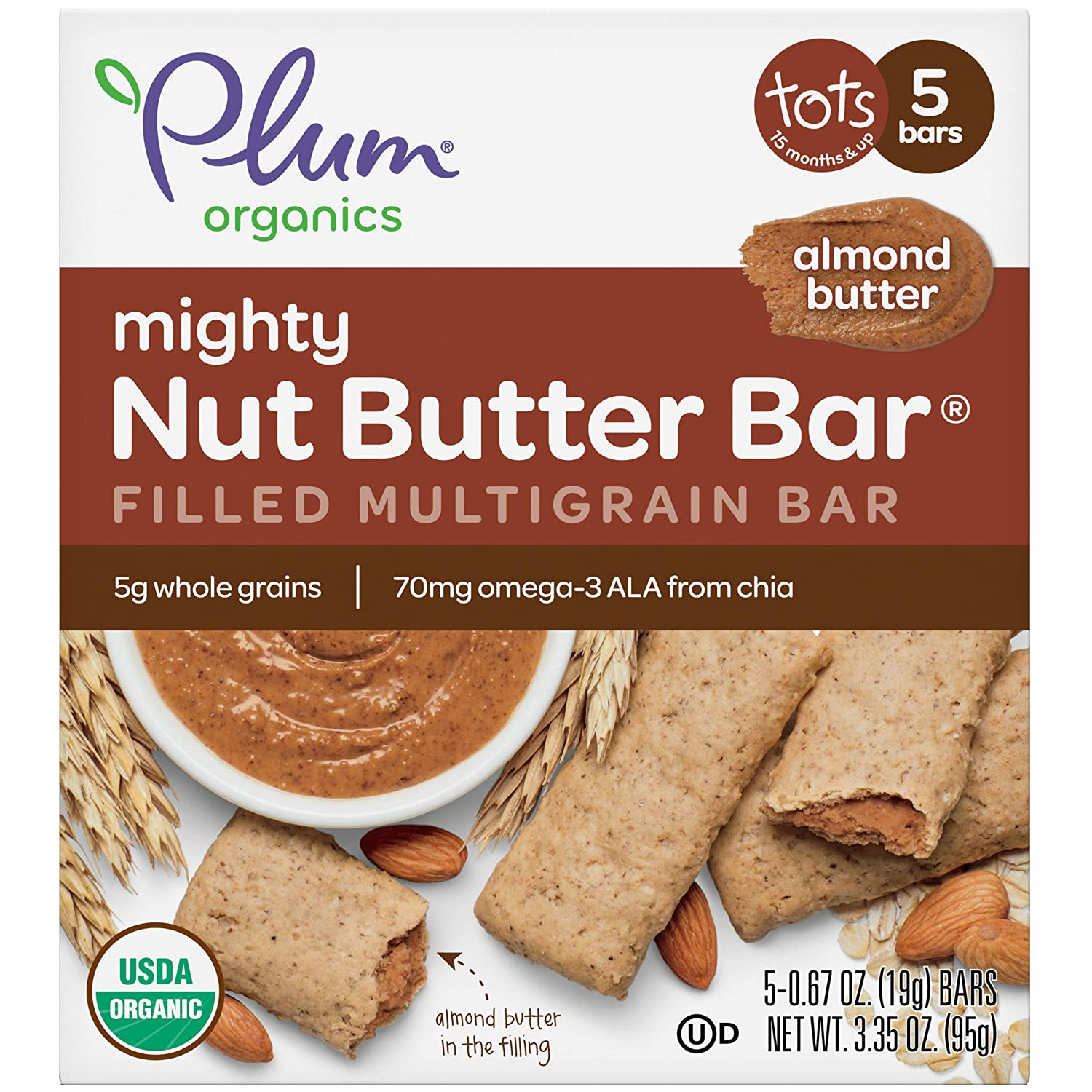 Plum Organics Mighty Nut Butter Bar, Toddler Snack Bar, Almond Butter, 3 Ounce Box, 5 Count (Pack of 8)