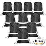 Drawstring Backpack Bags Reflective 10 Pack, Promotional Sport Gym Sack Cinch Bag (Royal Blue,Black,Red,Green)