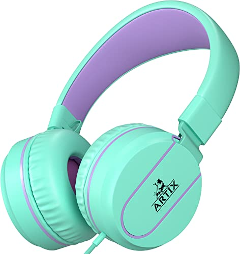 Artix Foldable On-Ear Adjustable Tangle-Free Wired Headphones, Compact Stereo Earphones with in-line Microphone and Controls for Children Teen Head Phones for Sport, Travel, School – Turquoise