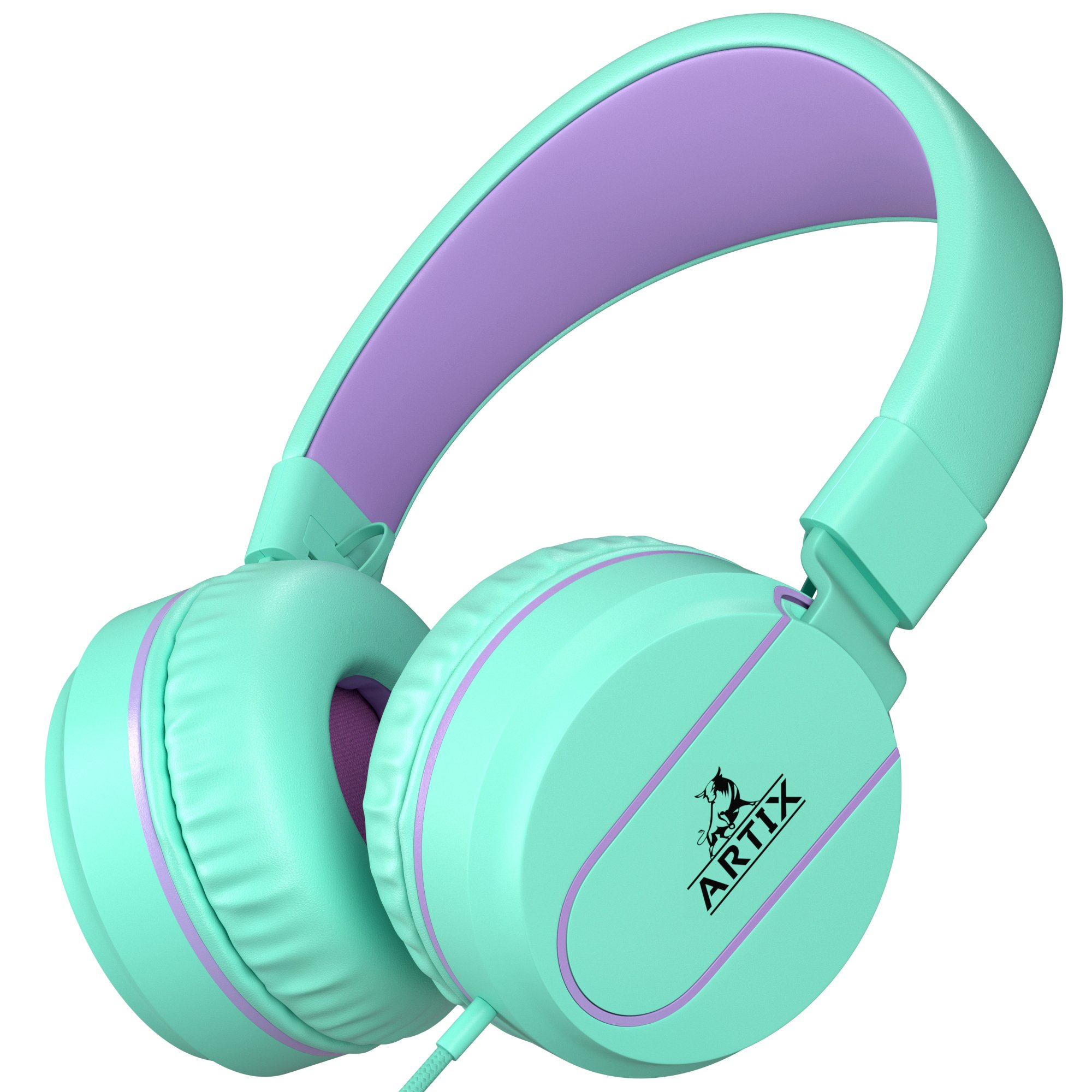 Artix Foldable On-Ear Adjustable Tangle-Free Wired Headphones, Compact Stereo Earphones with In-line Microphone and Controls for Children, Teen, Adult Head Phones for Running Sport, Travel- Turquoise