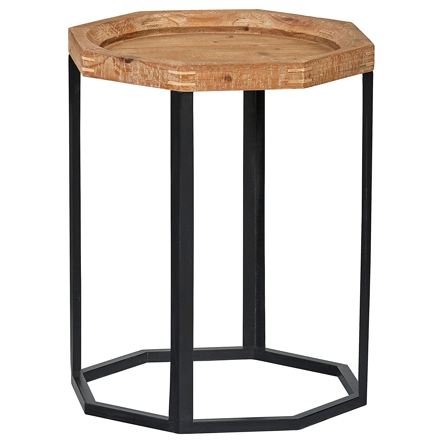 "Stone & Beam Arie Rustic Octagonal End Table, 17.3""W, Natural"